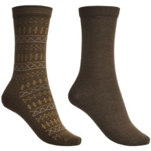 Goodhew Tone-Isle & Skinny Minnie Socks - Merino Wool, 2-Pack, Mid-Calf (For Women) in Chocolate - Closeouts