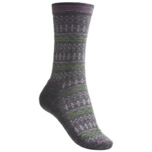 Goodhew Tone-Isle Socks - Merino Wool, Crew (For Women) in Grey/Hell Lila/Gail Grey/Avocado - Closeouts