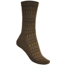 Goodhew Tone-Isle Socks - Merino Wool, Crew (For Women) in Light Chocalate/Mustard/Grey - Closeouts