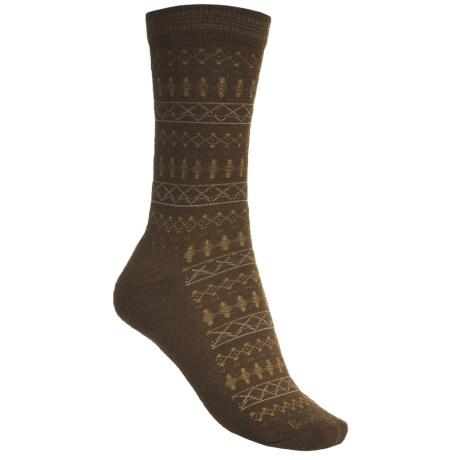 Goodhew Tone-Isle Socks - Merino Wool, Crew (For Women) in Light Chocalate/Mustard/Grey