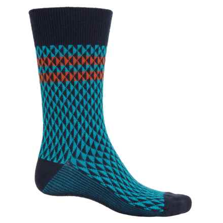 Goodhew Trilogy Jacquard Socks - Merino Wool, Crew (For Men) in Navy - Closeouts