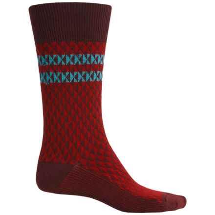 Goodhew Trilogy Jacquard Socks - Merino Wool, Crew (For Men) in Port - Closeouts