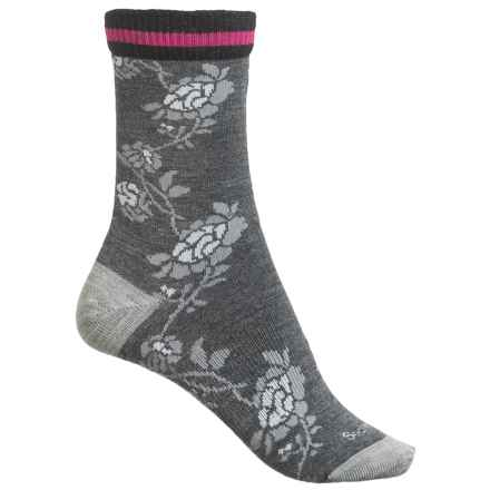 Goodhew Varsity Rose Socks - Merino Wool Blend, Crew (For Women) in Charcoal - Closeouts