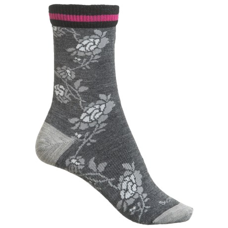 Goodhew Varsity Rose Socks - Merino Wool Blend, Crew (For Women) in Charcoal