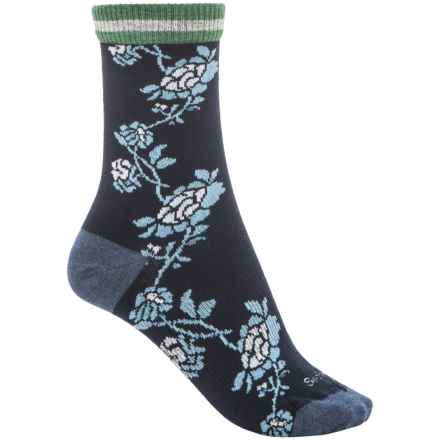 Goodhew Varsity Rose Socks - Merino Wool Blend, Crew (For Women) in Navy - Closeouts