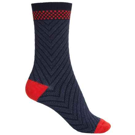 Goodhew Very V Socks - Merino Wool Blend, Crew (For Women) in Navy - Closeouts