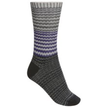 Goodhew Wavy Jacquard Socks - Merino Wool (For Women) in Light Grey/Black/Concorde - Closeouts