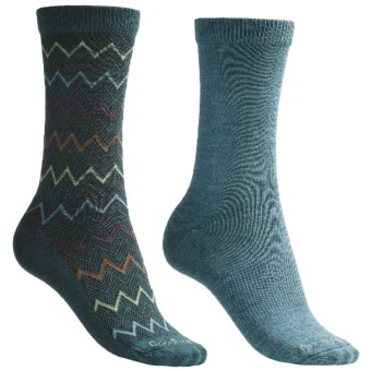Goodhew Zig Zag & Skinny Minnie Socks - Merino Wool, 2-Pack (For Women) in Teal
