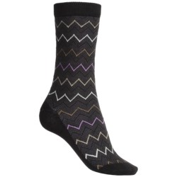 Goodhew Zigzag Socks - Merino Wool-Blend, Mid-Calf (For Women) in Black