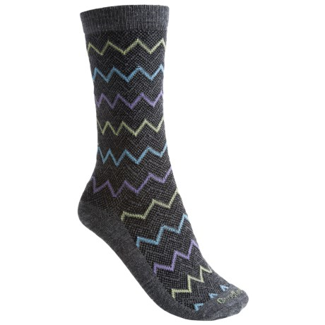 Goodhew Zigzag Socks - Merino Wool-Blend, Mid-Calf (For Women) in Charcoal