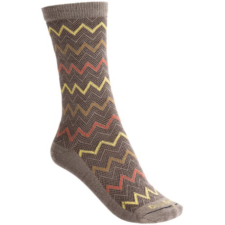 Goodhew Zigzag Socks - Merino Wool-Blend, Mid-Calf (For Women) in Khaki