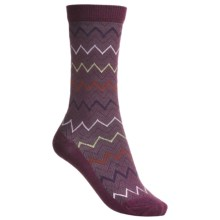 Goodhew Zigzag Socks - Merino Wool-Blend, Mid-Calf (For Women) in Thistle - Closeouts
