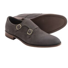 Gordon Rush Allan Double Monk Strap Shoes (For Men) in Grey Waxed Suede - Closeouts