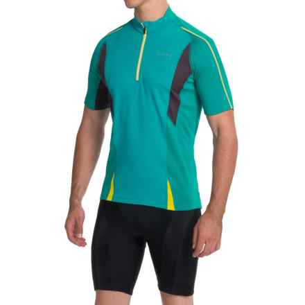 Gore Bike Wear Countdown 2.0 Cycling Jersey - Zip Neck, Short Sleeve (For Men) in Weekend Green/Raven Brown/Sulphur Yellow - Closeouts