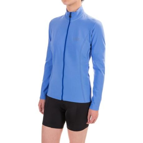 Gore Bike Wear Element Thermo Cycling Jersey - Full Zip, Long Sleeve (For Women) in Blizzard Blue/Brilliant Blue