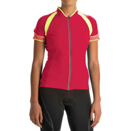 Gore Bike Wear Power 3.0 Cycling Jersey - Full Zip, Short Sleeve (For Women) in Rich Red/Neon Yellow/Coral Red - Closeouts