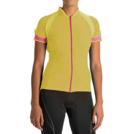 Gore Bike Wear Power 3.0 Cycling Jersey - Full Zip, Short Sleeve (For Women) in Sulphur Yellow/Giro Pink - Closeouts