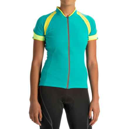 Gore Bike Wear Power 3.0 Cycling Jersey - Full Zip, Short Sleeve (For Women) in Weekend Green/Sulphur Yellow/Neon Yellow - Closeouts