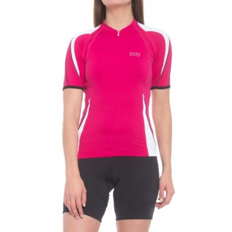 Gore Bike Wear Power Cycling Jersey - Zip Neck, Short Sleeve (For Women) in Berry Red/White