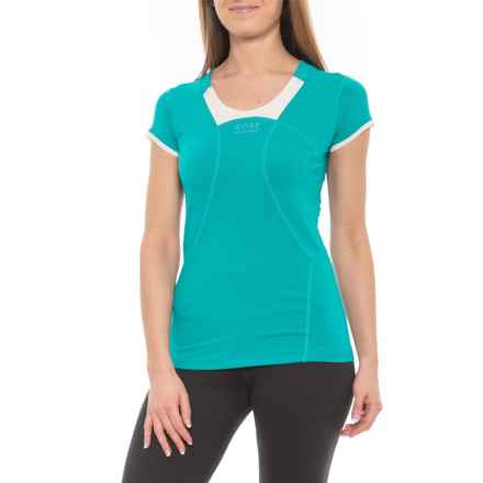 Gore Running Wear Air 2.0 T-Shirt - Short Sleeve (For Women) in Weekend Green/Natural White - Closeouts