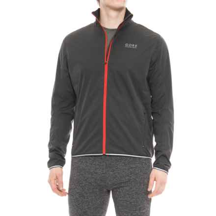 Gore Running Wear Essential Windstopper® Soft Shell Jacket (For Men) in Raven Brown/Red - Closeouts