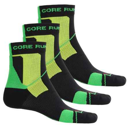 Gore Running Wear X-Run Ultra Running Socks - 3-Pack, Ankle (For Men and Women) in Black/Apple Green - Closeouts