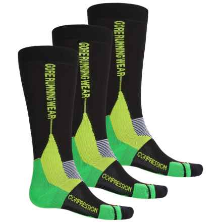 Gore Running Wear X-Run Ultra Running Socks - 3-Pack, Over the Calf (For Men and Women) in Black/Apple Green - Closeouts