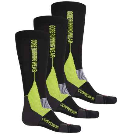 Gore Running Wear X-Run Ultra Running Socks - 3-Pack, Over the Calf (For Men and Women) in Black/Graphite Grey - Closeouts