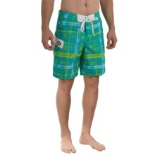 Gotcha Plaid Print Boardshorts (For Men) in Bright Aqua - Closeouts