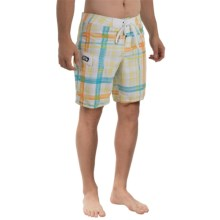 Gotcha Plaid Print Boardshorts (For Men) in Bright White - Closeouts