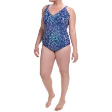 Gottex Blue Tank One-Piece Swimsuit (For Plus Size Women) in Purple/Blue Speckle - Closeouts