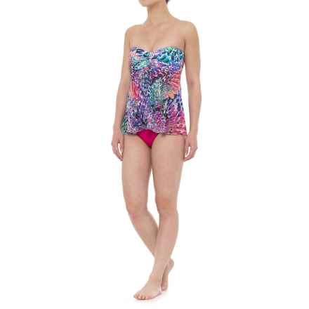 Gottex Canary Island Flyaway Bandeau Tankini Set - Built-In Bra, Brief Bottoms (For Women) in Multi/Rose - Closeouts