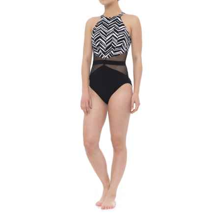 Gottex Marble High-Neck One-Piece Swimsuit - Built-In Bra (For Women) in Black/White - Closeouts