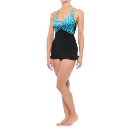 Gottex Profile by  Cocoon Skirted Halter One-Piece Swimsuit - Built-In Bra (For Women) in Multi - Closeouts