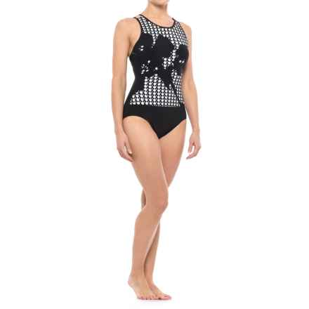 Gottex Profile by  Rambling Rose One-Piece Swimsuit - Padded Cups (For Women) in Black - Closeouts