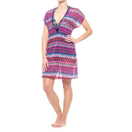 Gottex Profile by  Tequila Mesh Swimsuit Cover-Up - Tie Waist, Short Sleeve (For Women) in Multi - Closeouts