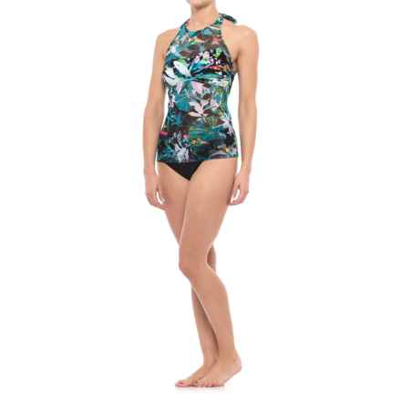 Gottex Profile by  Tropical Dawn Halter Tankini Set - Brief Bottoms (For Women) in Multi/Black - Closeouts