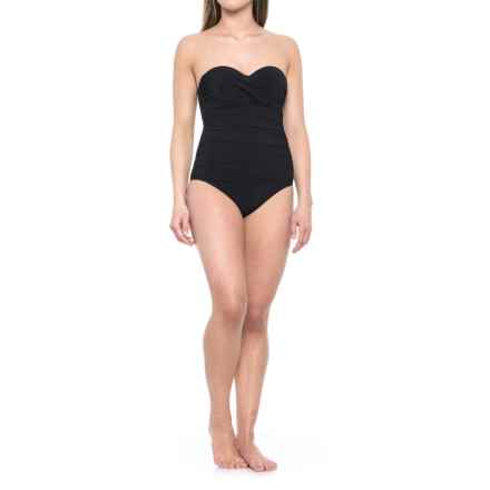 Gottex Tutti Fruiti Bandeau One-Piece Swimsuit - Removable Straps, Built-In Bra (For Women) in Black - Closeouts