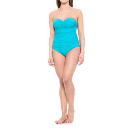 Gottex Tutti Fruiti Bandeau One-Piece Swimsuit - Removable Straps, Built-In Bra (For Women) in Light Blue - Closeouts