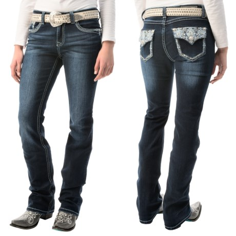 Grace in LA Blue Stitch Jeans Bootcut, Stretch Denim (For Women)