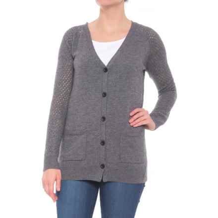 c7cd73a58956d9 Grace Project Cashmere Blend Cardigan Sweater (For Women) in Sleet -  Closeouts