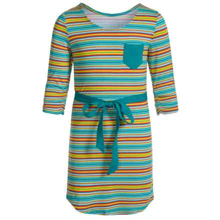 Gracie by Soybu Joanie Dress - Scoop Neck, 3/4 Sleeve (For Little and Big Girls) in Autumn Stripe - Closeouts