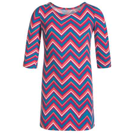 Gracie by Soybu Kylie Dress - Boat Neck, 3/4 Sleeve (For Little and Big Girls) in Blue Zig Zag - Closeouts
