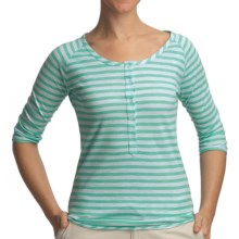 Gramicci Asteria Dafina Stripe Henley Shirt - 3/4 Sleeve (For Women) in Spa Blue - Closeouts