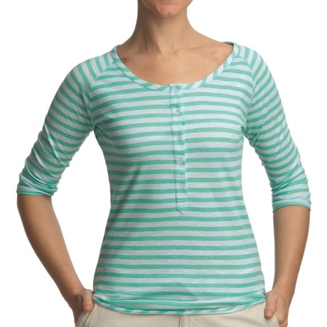 Gramicci Asteria Dafina Stripe Henley Shirt - 3/4 Sleeve (For Women) in Rose Red