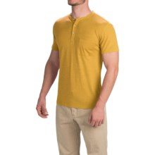 Gramicci Brody Henley Shirt - Hemp-Organic Cotton, Slim Fit, Short Sleeve (For Men) in Golden Haze - Closeouts