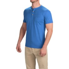 Gramicci Brody Henley Shirt - Hemp-Organic Cotton, Slim Fit, Short Sleeve (For Men) in Skyline Blue - Closeouts