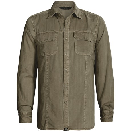 Gramicci Bryson Herringbone Shirt - Long Sleeve (For Men) in Fatigue Green