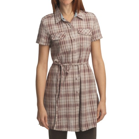 Gramicci Cordia Amari Plaid Shirt Dress - Short Sleeve (For Women) in Rose Taupe