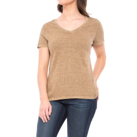 Gramicci Delia Modern V-Neck Shirt - Organic Cotton, Short Sleeve (For Women) in Sahara Tan